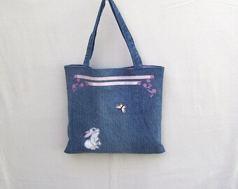 Bunny with pink butterfly, small denim tote, handmade from recycled jeans