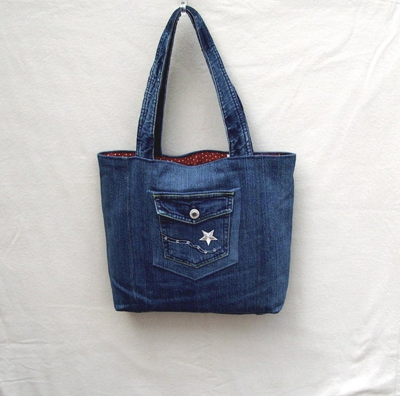 NightStar - navy denim tote with silver star, handmade from recycled jeans
