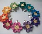 Rainbow Flower Crochet Hairclips (Pack of 4)