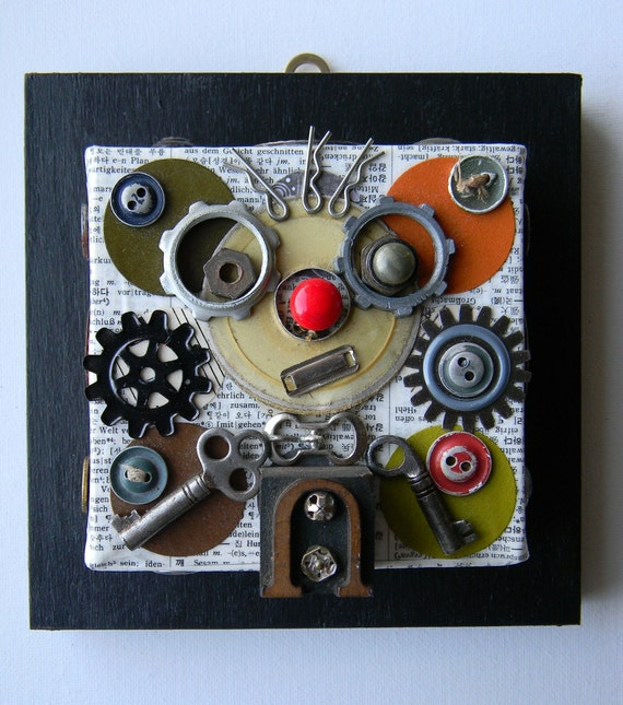 "Recycled Art Collage   -   ""My robot wears glasses""   -   Original Mixed Media"