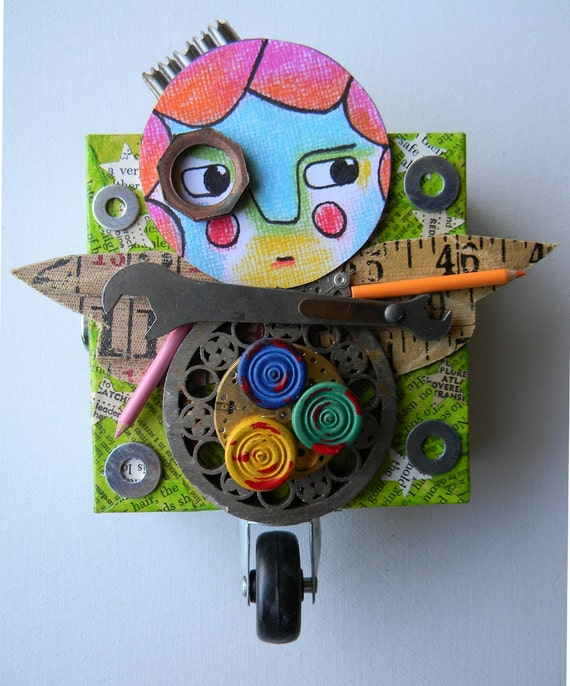 """Recycled Art Collage  -   """"She likes to stand out""""   -   Original Mixed Media"""