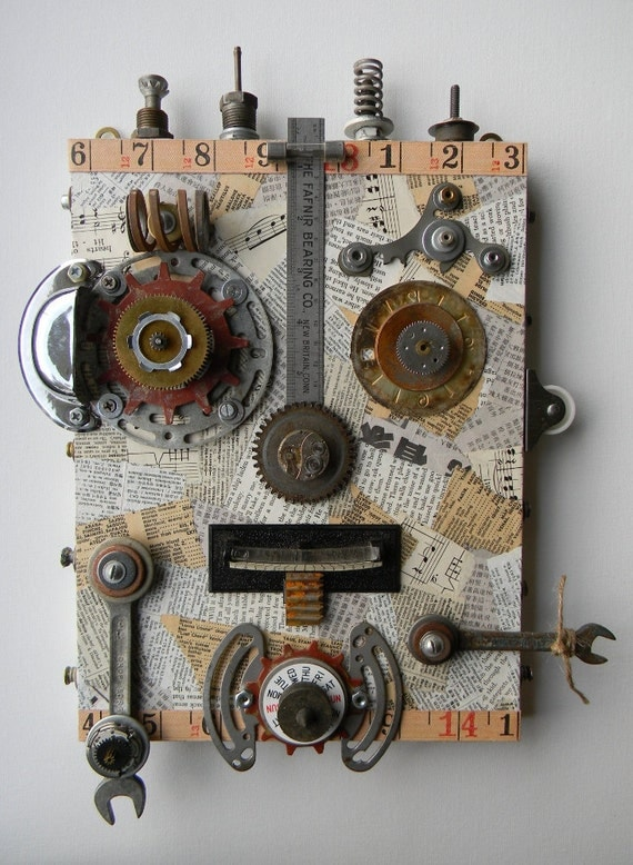 """RESERVED FOR MARY  -  Recycled Art Collage   -   """"Metal Man""""   -    Original Mixed Media"""
