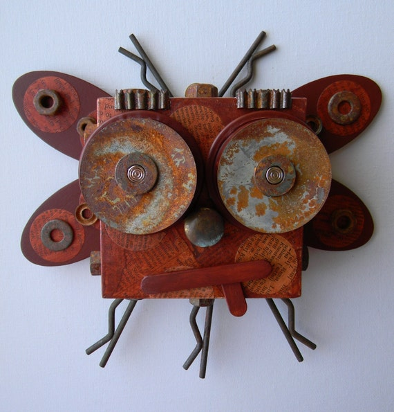 "Recycled Art Collage  -  ""The Pacific Northwest Rust bug""  -  Original Mixed Media"