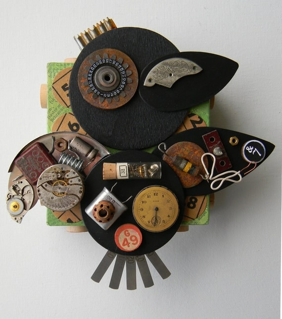 """Recycled Art Collage  -  """"Crow-Spare Parts""""   -   Original Mixed Media"""