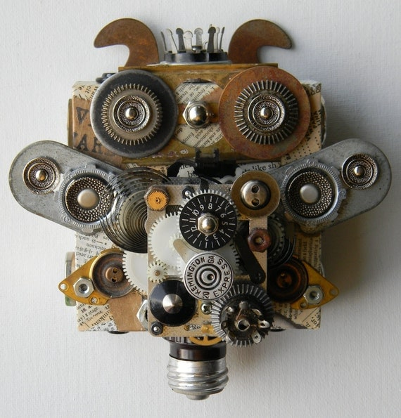 "Recycled Art Collage   -   ""Bits and Bobs bug""   -   Original Mixed Media"