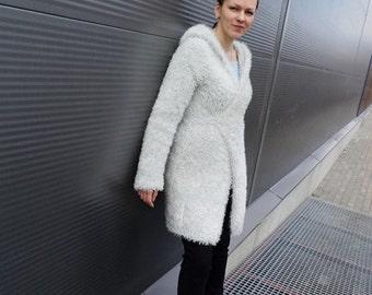Knitted jacket, light grey jacket, wrap jacket, hooded jacket, lush yarn jacket, fur like jacket