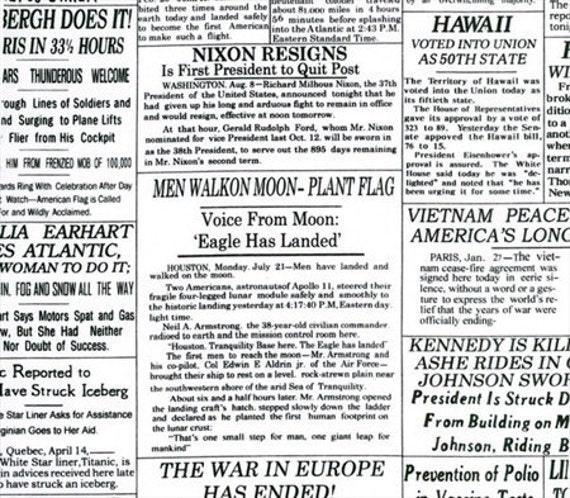 Half Yard Headliner Newspaper Black and White Print by Blank Textiles