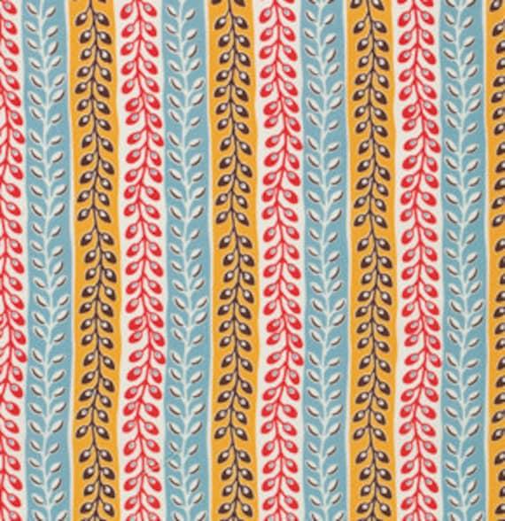 1/2 Yard Seedpod Stripe in Turquoise - Flea Market Fancy by Denyse Schmidt for Free Spirit Fabrics