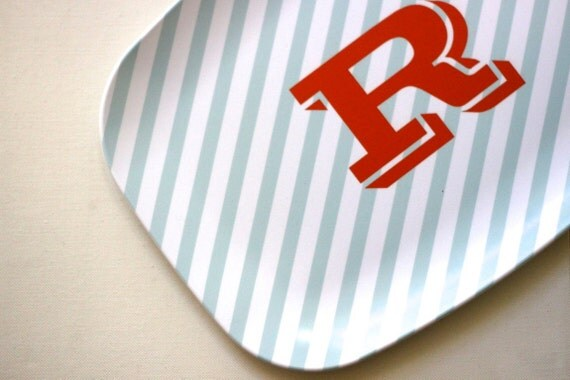 Neapolitan Stripe Custom Melamine Platter - Choose your own Colors and Personalization/Monogram