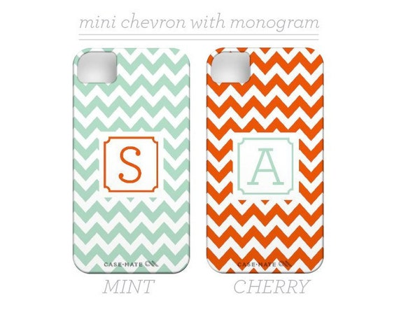 Monogrammed Chevron iPhone 5 Case with Monogram/Initial - also for Iphone 4