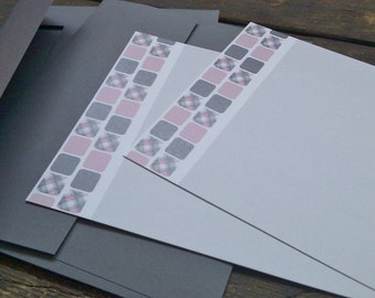 Pink & Grey Stationery Set (5 cards and envelopes)