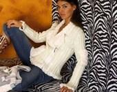 White Gold Womens SWEATER JACKET Faux Fur Collar 2 Faux Fur Pockets Front Zipper XL 16