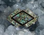 Vtg 20s Art Nouveau Abalone Kaleidoscopic Hatpin Brooch