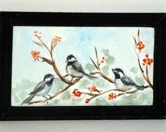 SALE - Miniature Original Painting in Watercolor - Chickadees