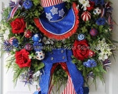 """July 4th Wreath-""""Uncle Sam"""" Summer Wreath-Patriotic Wreath-""""MADE TO ORDER"""" Listing (Order Deadline for July 4th Delivery is May 1st)"""