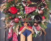 "Made to Order Item -Christmas Wreath-Door Decoration - ""COWBOY Santa Claus""  -XXL-Limited Orders-Installment Option Available"