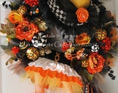 """Halloween Wreath """"CAnDy CoRn WiTcH DIVA"""" Wreath--Fall Wreath-(Please Read Full Description)LAST One avail. for Orders"""