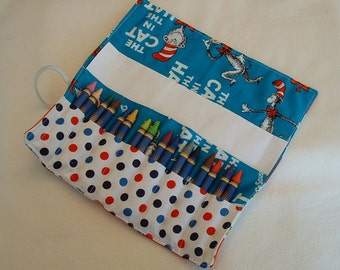 Dr. Seuss Cat in the hat print crayon roll ups holds up to 16 crayons party favor crayon holder