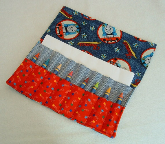 Thomas party favor crayon roll crayon caddy Thomas the train crayon holder organizer holds paper stickers up to16 crayons