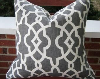 18x18 Schumacher gray and off white trellis pillow