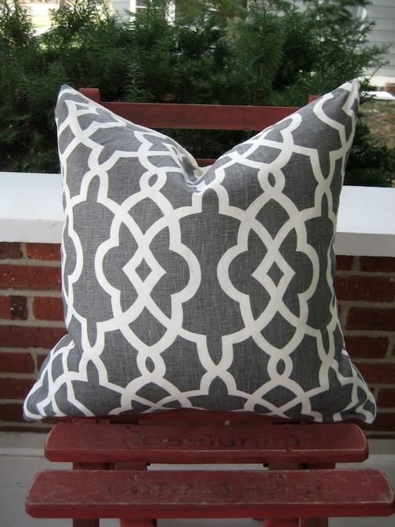 Schumacher gray and off white trellis pillow