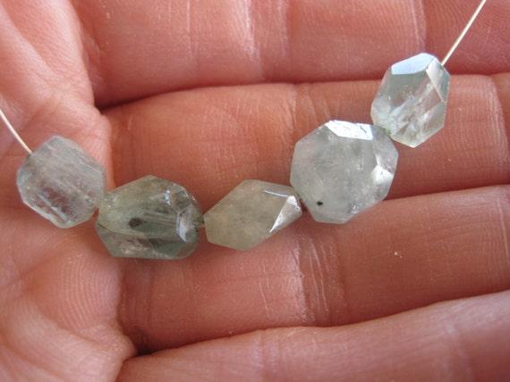 Aquamarine Nugget Beads Rough Faceted Mix Organic Natural Gemstone Destash Jewelry Making Supplies Great set of 5
