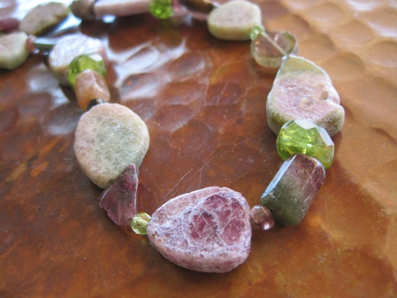 Watermelon Tourmaline Slice Statement Necklace Rough Raw Rustic Handcrafted Jewelry Fresh Fruit Gem SUMMER FUN