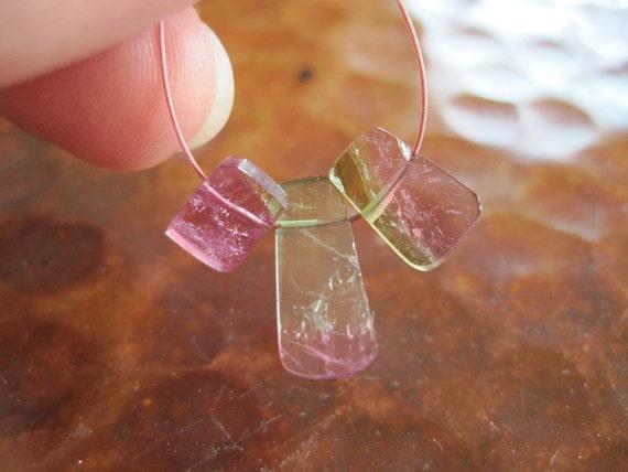 Rough Polished Watermelon Tourmaline Slice Beads Raw Pink Green Natural Glowing Gorgeous Gemstones Destash Jewelry Supplies