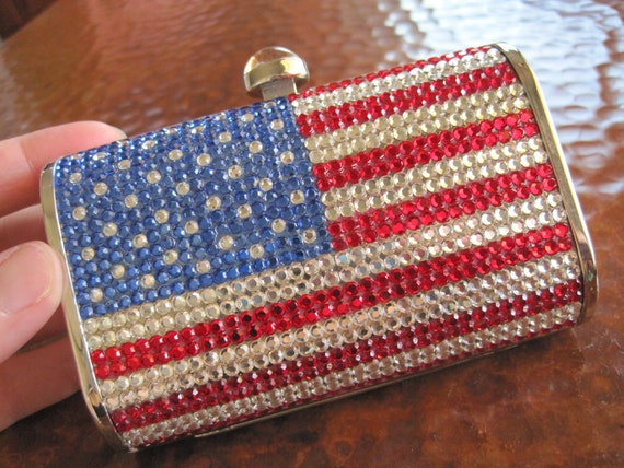 US Flag Crystal Handbag Swarovski Sparkling American Patriotic Vintage Minaudiere Just Marked HALF OFF