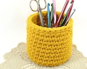 Yellow Crochet Bowl made using Recycled T Shirt Yarn - Candy Dish Pencil Holder