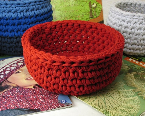 Crochet Patterns For T Shirt Yarn : Crochet Bowl made using Recycled T shirt yarn Red