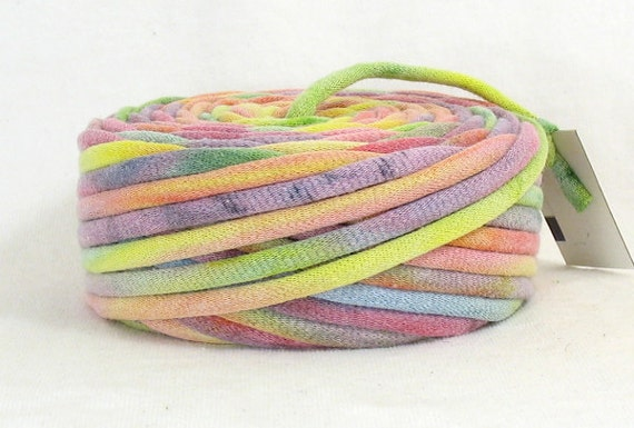Recycled T Shirt Yarn Sherbert Rainbow 33 Yards Super Bulky Tie Dye Pastel Shades All Colors