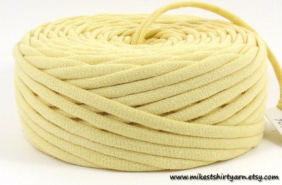 Recycled T Shirt Yarn - Lemon Yellow - 45 Yards - Super Bulky Crafting Cord