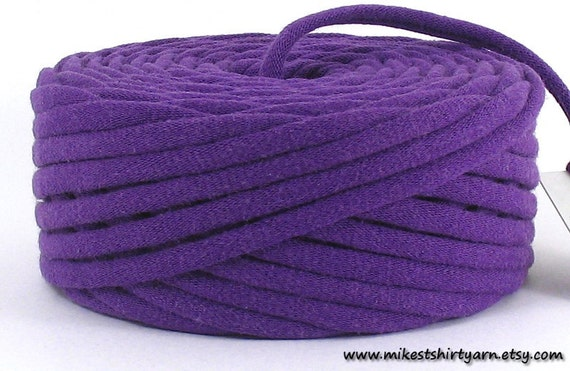 Recycled T Shirt Yarn Purple 32 Yards Super Bulky Crafting Cord