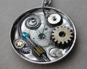 Pocket Watch Steampunk Doctor Who necklace with Sonic Screwdriver