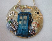 """Doctor Who Steampunk Necklace """"Madman with a Box"""""""