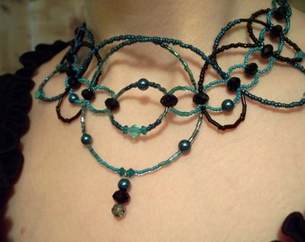 Edwardian Necklace in Blue and Black
