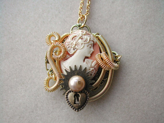 Steampunk Necklace with Victorian Cameo