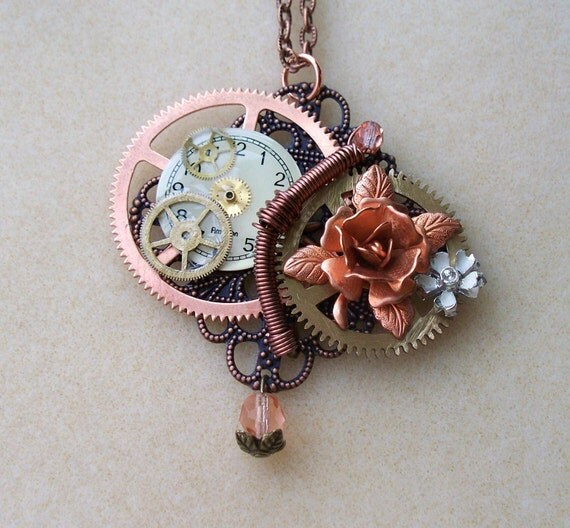 """Victorian Steampunk necklace """"Mechanical Rose"""""""