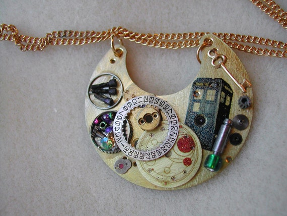 "Doctor Who Steampunk Necklace ""Memories of Gallifrey"""