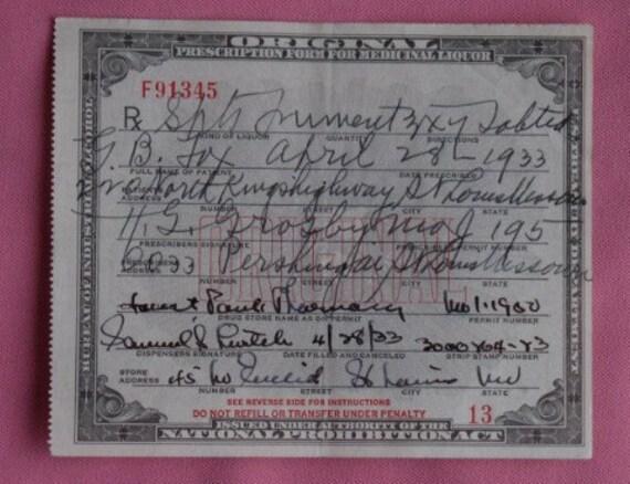 Vintage Prohibition Whiskey Prescription Pharmacy Alcohol Spts. Frumenti Rx St. Louis, Mo for G.B. Fox
