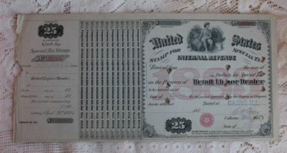 Antique Whiskey Dealer Tax Stamp 1883 Cairo, ILLinois Retail Liquor Civil War Era USIR