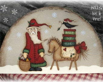 E PATTERN - Holly, Ivy and Pine - Santa and Friends - Designed by Terrye French and Painted by Sharon B. - FAAP
