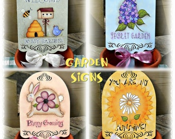 E PATTERN - Garden Signs - All 4 Designs in one Packet - Flowers, Bunny, Welcome - Designed by T. French & Painted by Sharon B - FAAP