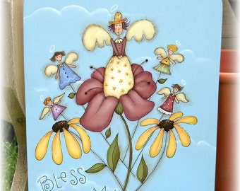 E PATTERN - Bless My Blooms - Flowers & Angels - Inspired by Terrye French, painted by Me, Sharon B. - FAAP