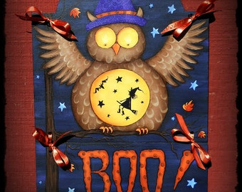 E PATTERN - Boo Hoot - Witchy Owl Fun for Halloween - Designed & Painted by me, Sharon Bond - FAAP