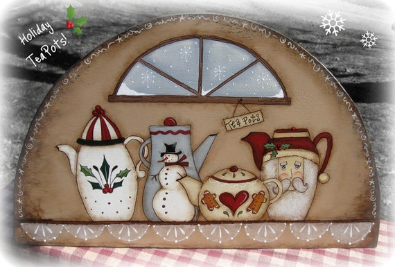 E PATTERN - Holiday Teapots - Winter Shelf - Designed by Terrye French and Painted by Sharon B. - FAAP