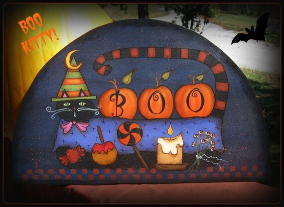 E PATTERN - Boo Kitty - Fun Fall Design from Terrye French and Painted by Me, Sharon B - FAAP