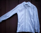 RESERVED vintage crisp white lace blouse
