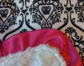 Baby Blanket Minky Crown With Hot Pink Satin